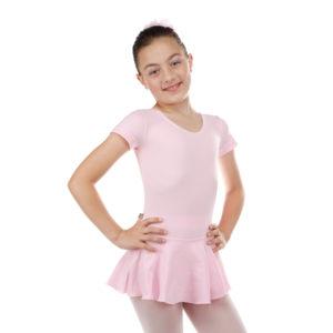 Collant Manga Curta com Saia Infantil em Helanca - Ballare -0
