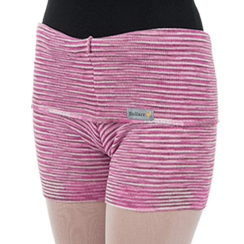 Shorts Listrado com Dobra Rosa Bebê - Ballare-0