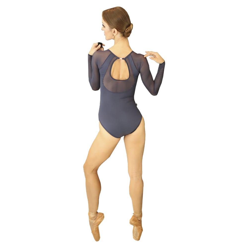 Collant em Tecido Light com Forro e Tule Elástico Azul Marinho - Ballare-2382