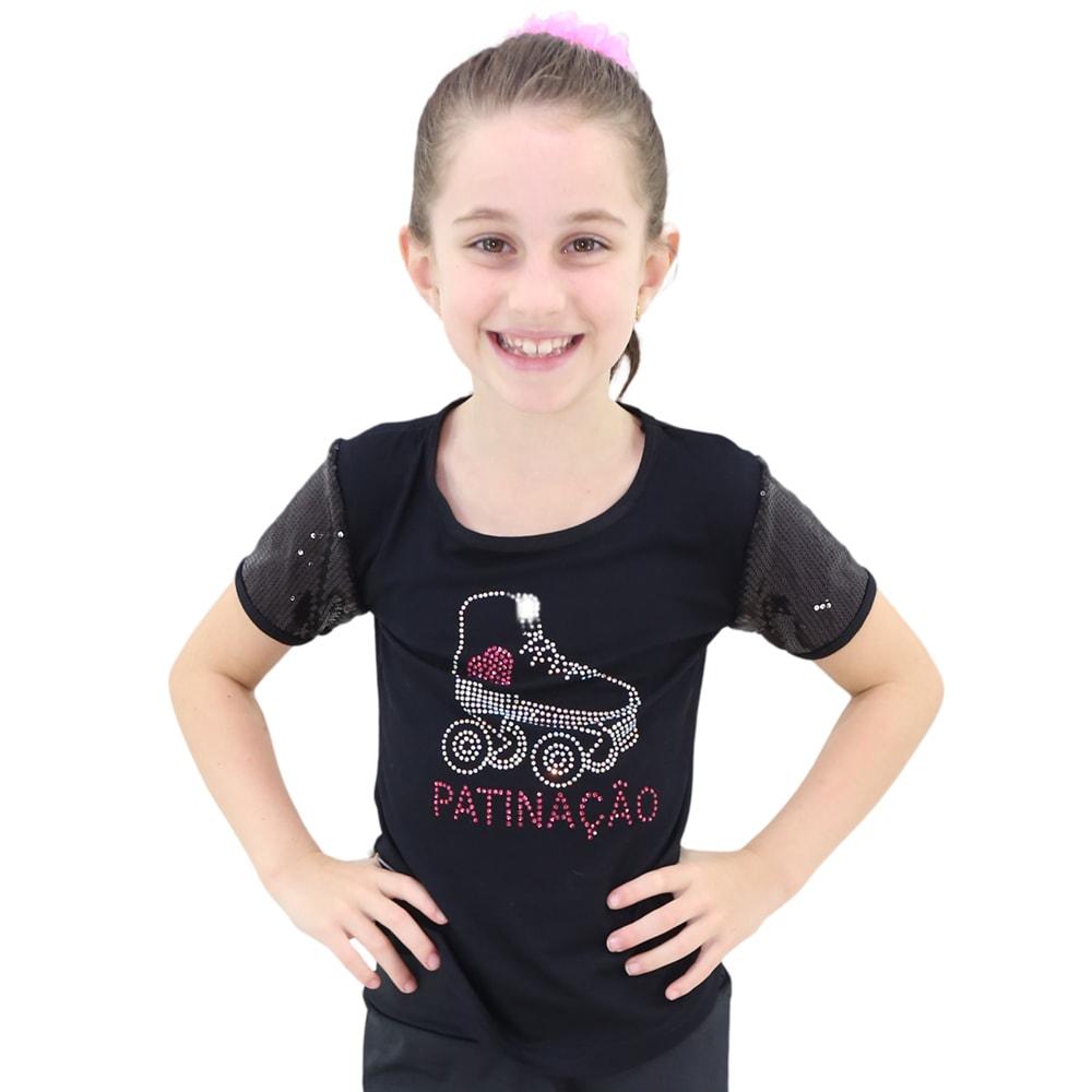 Camiseta Visco Lycra Patinação Preta Infantil - Ballare-0