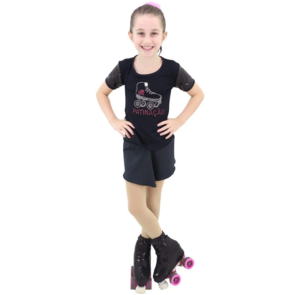 Camiseta Visco Lycra Patinação Preta Infantil - Ballare-2319