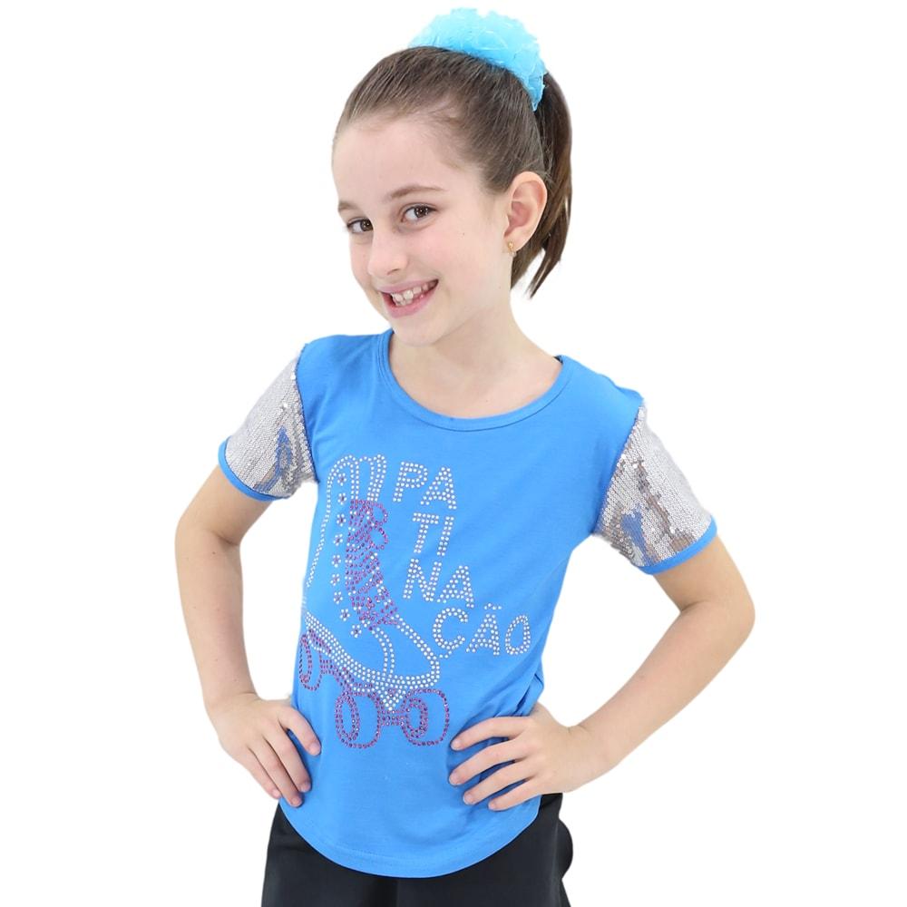 Camiseta Visco Lycra Infantil com manga em Paête Azul - Ballare-0
