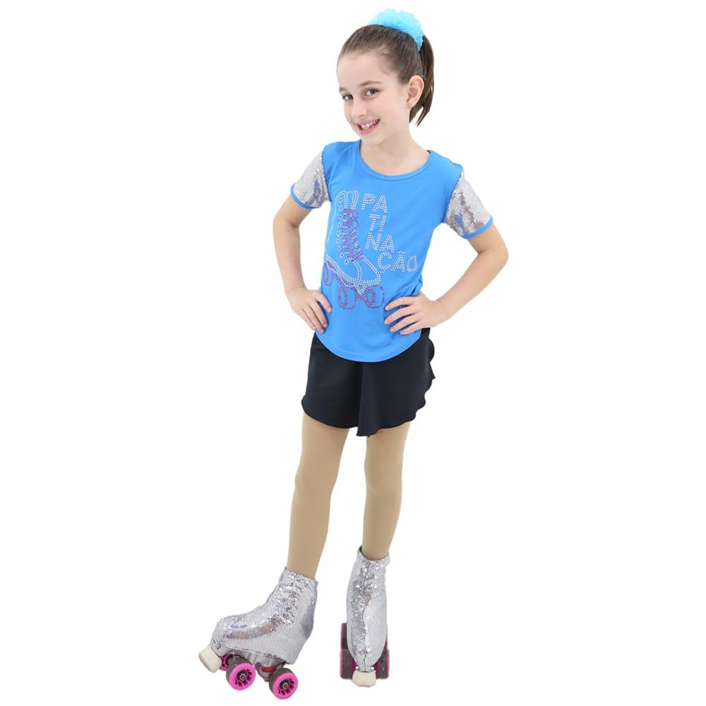 Camiseta Visco Lycra Infantil com manga em Paête Azul - Ballare-2265