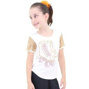 Camiseta Visco Lycra Infantil com manga em Paête Branco - Ballare-0