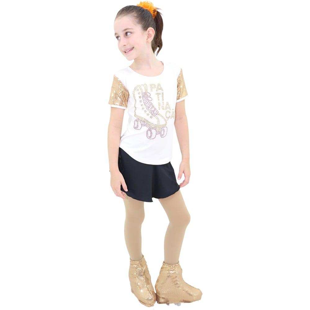 Camiseta Visco Lycra Infantil com manga em Paête Branco - Ballare-2267