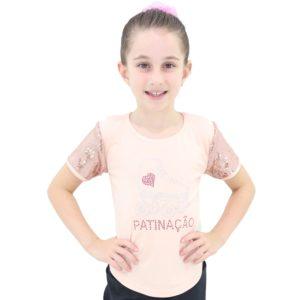 Camiseta Visco Lycra Patinação Salmão Infantil - Ballare-0