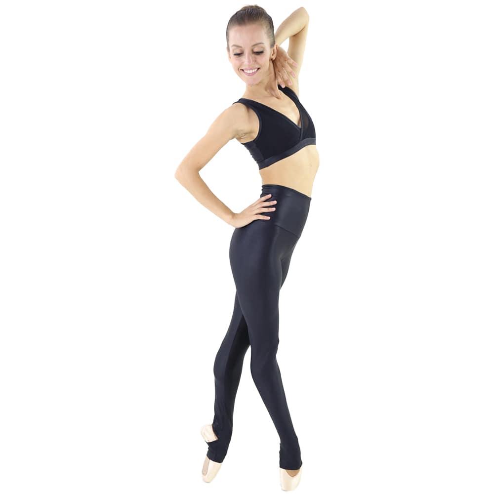 Calça em Tecido Brilhoso e Cós Alto Preta - Ballare-0