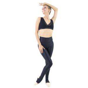 Calça em Tecido Brilhoso e Cós Alto Preta - Ballare-2350