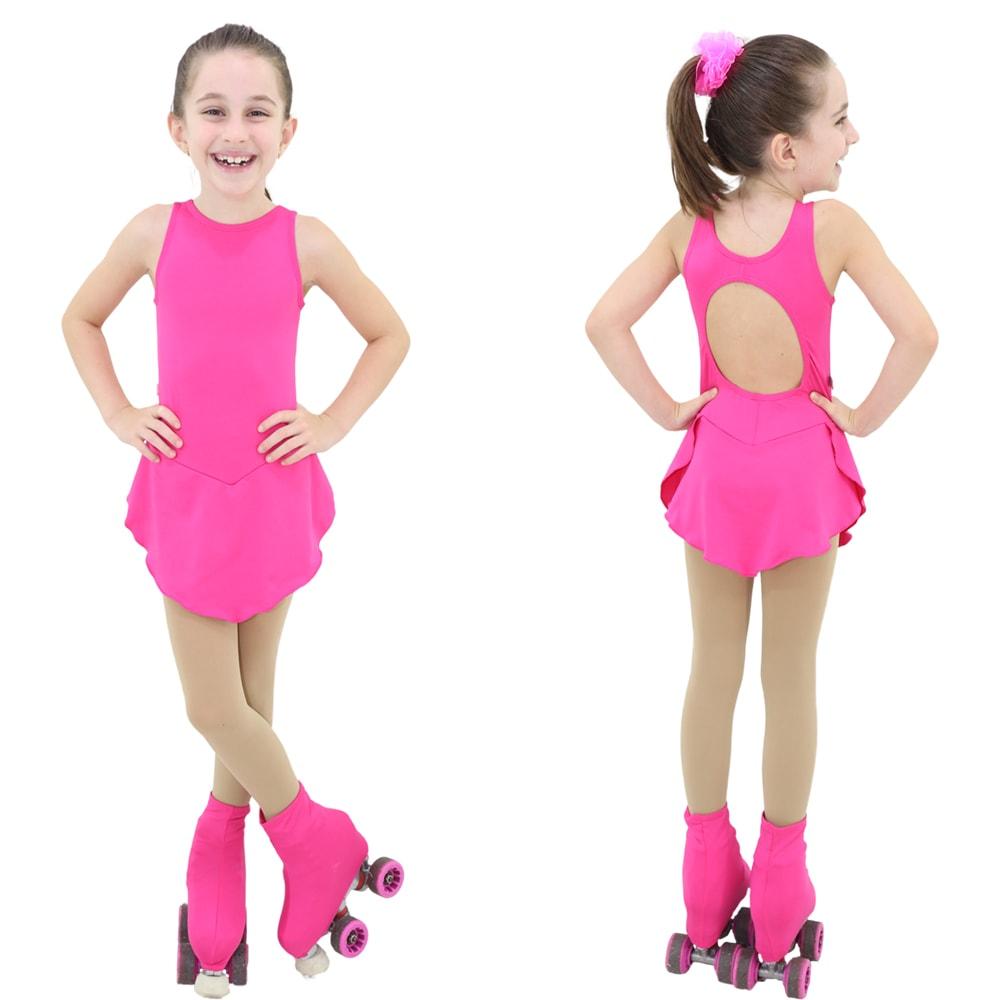 Collant Regata com Saia Infantil Rosa Pink - Ballare-0