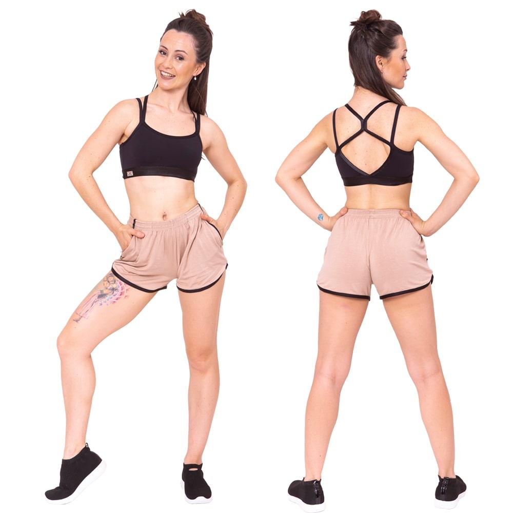 Shorts Tecido Adulto Bege - Ballare-0