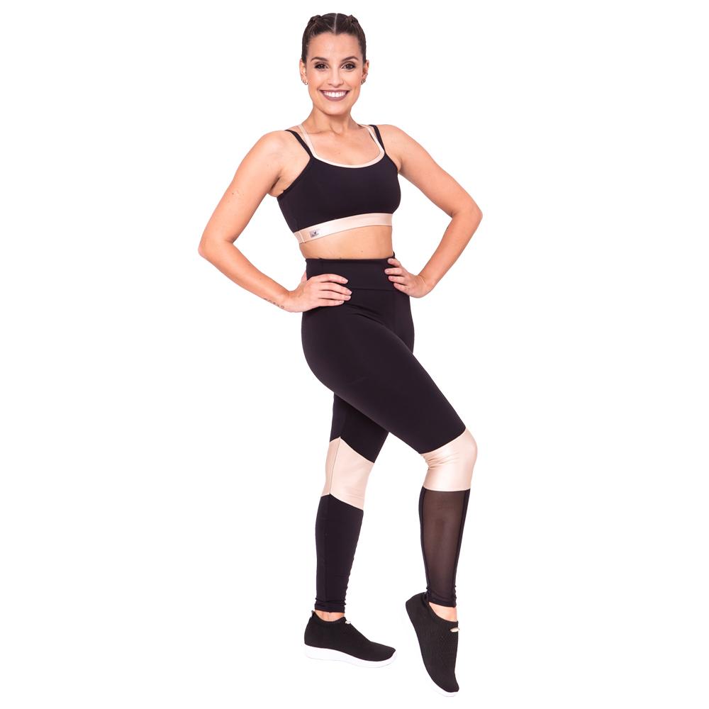 Legging com recortes e tule Bege Adulto - Ballare-2771